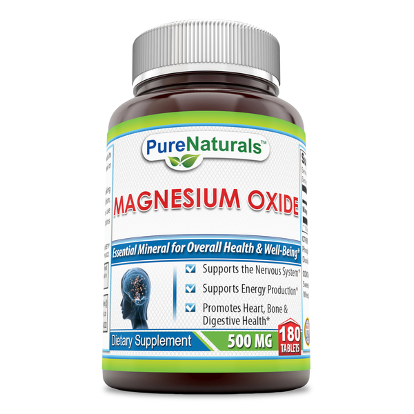 Pure Naturals Plain Magnesium Oxide 500 MG 180 Tablets