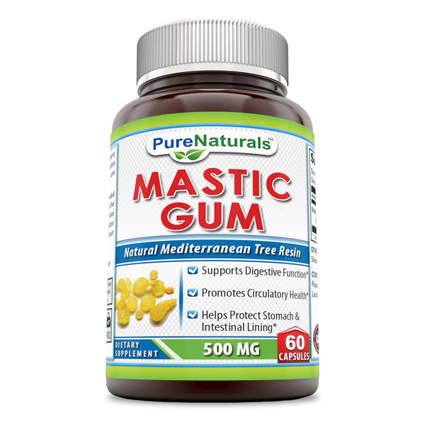Pure Naturals Mastic Gum- 500 mg, 60 Capsules- Supports Digestive Function*- Promotes Circulatory Health*- Helps Protect Stomach & Intestinal Lining*