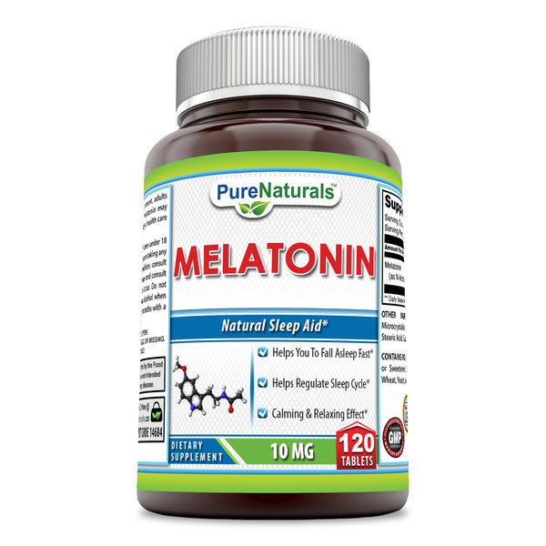 Pure Naturals Melatonin – 10 Mg Tablets - 120 Tabletsper Bottle – Supports Healthy Sleep & Promotes A Calming & Relaxing Effect*
