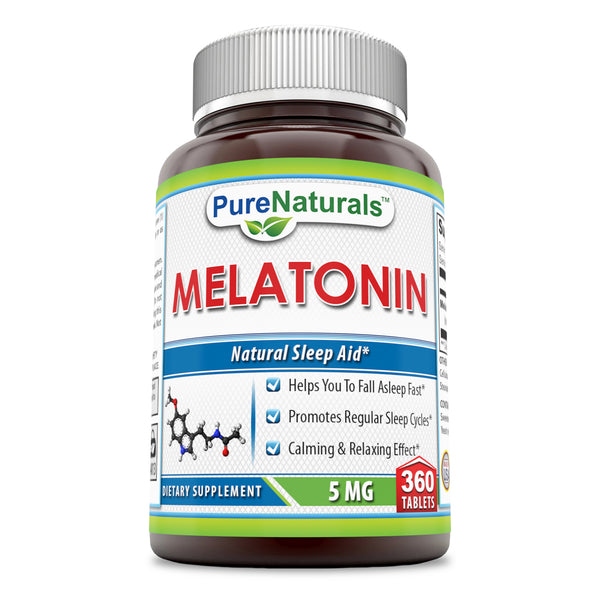 Pure Naturals Melatonin, 5 Mg 360 Tablets, Helps You to Fall Asleep Fast, Promotes Regular Sleep Cycles, Calming & Relaxing Effect