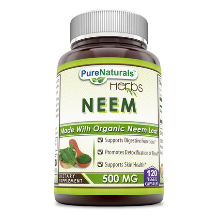 Pure Naturals Neem 500 Mg, 120 Veggie Capsules, Supports Digestive Functions, Promotes Detoxification of Blood, Supports Skin Health