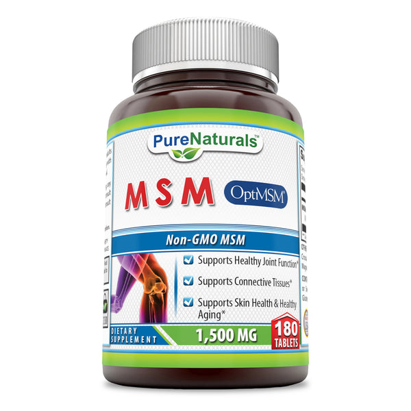 Pure Naturals OptiMSM - 1500mg, 180 Tablets- Supports Healthy Join Function* Supports Connective Tisseus* Supports Skin Health & Healthy Aging*