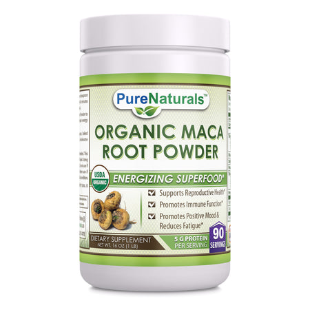 Pure Naturals USDA Certified Organic Maca Root Powder- 16 oz (1 lb)- GMO Free- Supports Healthy Mood, Hormonal Balance, Cardiovascular Health & Immune Health