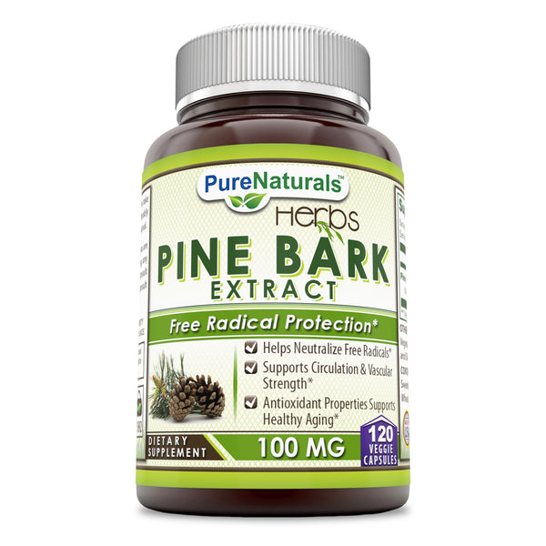 Pure Naturals Pine Bark Extract 100 Mg, 120 Veggie Capsules, Helps Neutralize Free Radicals, Supports Circulation & Vascular Strength, Antioxidant Properties Supports Healthy Aging