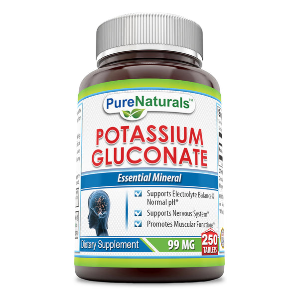 Pure Naturals Potassium Gluconate 99 Mg 250 Tablets