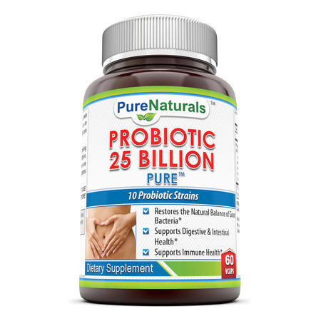 Pure Naturals Probiotic 25 Billion Veggie Capsules 60 Veggie Capsules- Restores The Natural Balance of Good Bacteria* Promotes Healthy Intestinal Flora* Supports Digestive Health*