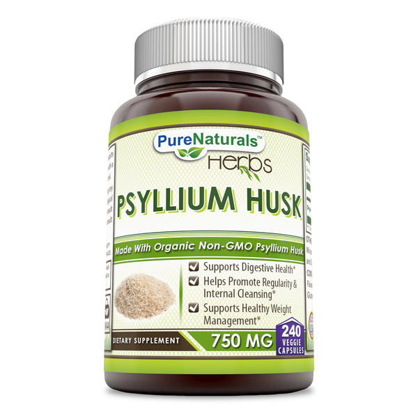 Pure Naturals Psyllium Husk - 750 mg (240 Count) Platango Ovata Fiber Supports Digestive Health & Healthy Waight Waight Management