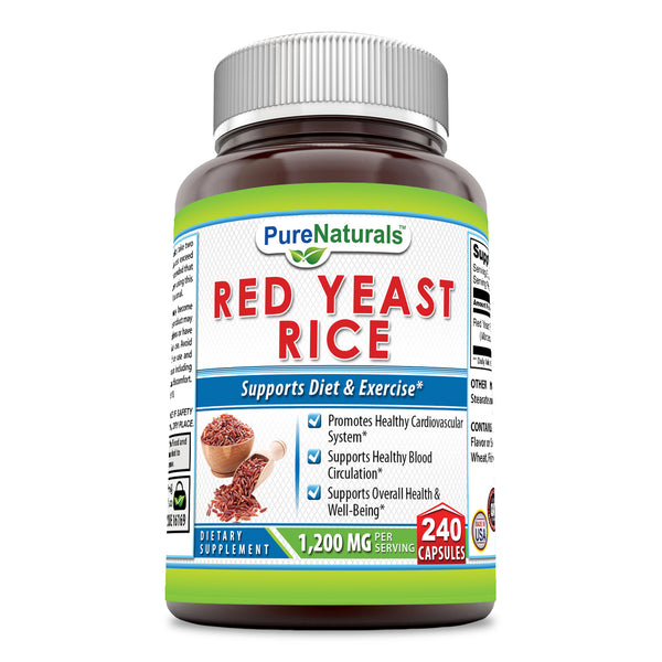 Pure Naturals Red Yeast Rice Dietary Supplement, 1200 Mg per Serving Capsules, 240Count, Promotes Healthy Cardiovascular System*, Supports Healthy Blood Circulation, Supports Overall Health*