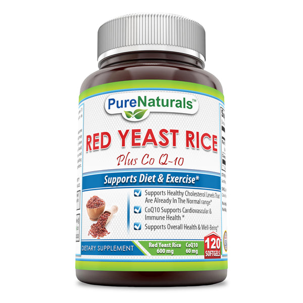 Pure Naturals Red Yeast Rice Plus CoQ10 600 Mg 120 Softgels