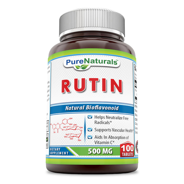 Pure Naturals Rutin 500 Mg Tablets  (100 Count) (Non-GMO)- Helps Neutralize Free Radicals* Supports Vascular Health* Aids in Absorption of Vitamin C*