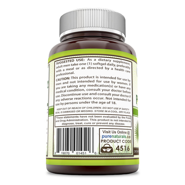 Pure Naturals Saw Palmetto 320 Mg 90 Softgels