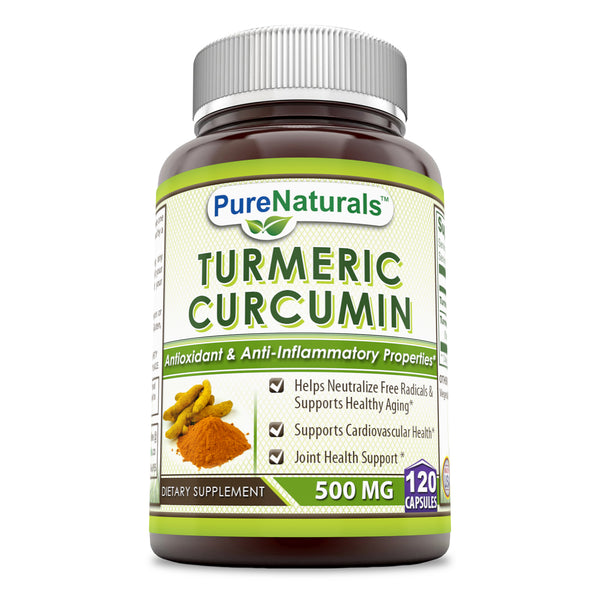 Pure Naturals Turmeric Curcumin 500 Mg 120 Capsules- *Helps Neutralize Free Radicals & Supports Healthy Aging*, Supports Cardiovascular Health*, Joint Health Support*