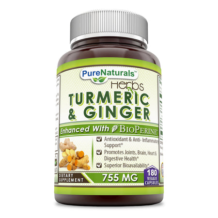 Pure Naturals Turmeric & Ginger 755 Mg 180 Veggie Capsules, Antioxidant & Anti-Inflammatory Support, Promotes Joints, Brain, Heart & Digestive Health, Superior Bioavailability
