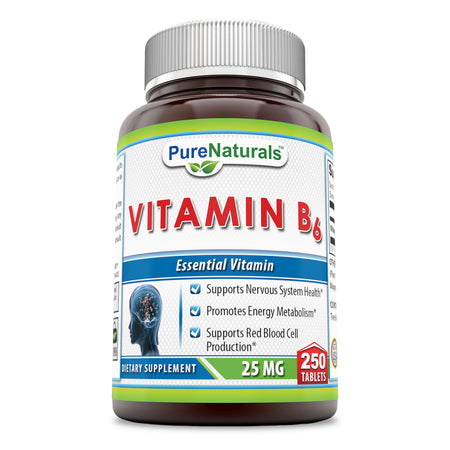 Pure Naturals Vitamin B6 25 Mg 250 Tablets, Supports Nervous System Health, Promotes Energy Metabolism, Supports Red Blood Cell Production