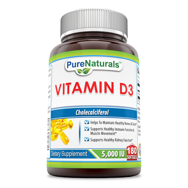 Pure Naturals Vitamin D3 Cholecalciferol 5000 Iu Softgels, 180 Softgels, Helps to Maintain Healthy Bones & Teeth* Supports Healthy Immune Function* & Muscle Movement* Supports Healthy Kidney