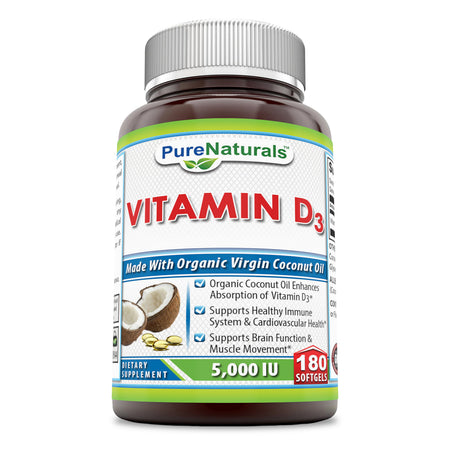 Pure Naturals Vitamin D3 With Coconut Oil 5000 IU 180 Softgels
