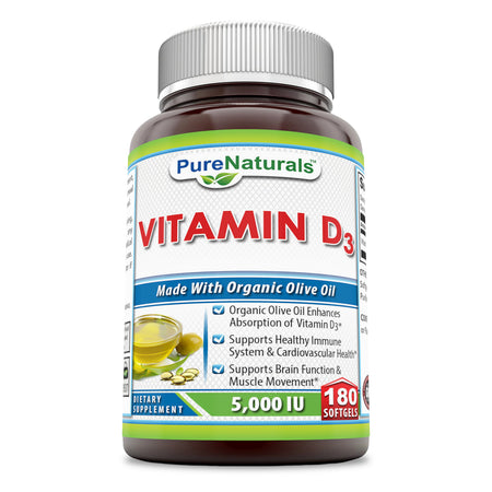 Pure Naturals Vitamin D3 With Organic Olive Oil 5000 IU 180 Softgels