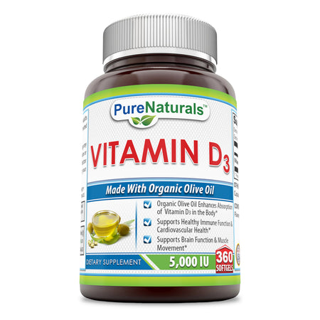 Pure Naturals Vitamin D3 With Olive Oil 5000 IU 360 Softgels
