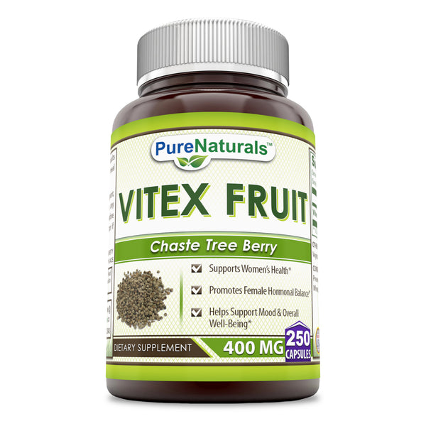 Pure Naturals Vitex Fruit 400 Mg 250 Capsules -Supports Women's Health* -Promotes Female Hormonal Balance* -Helps Support Mood & Overall Well-Being