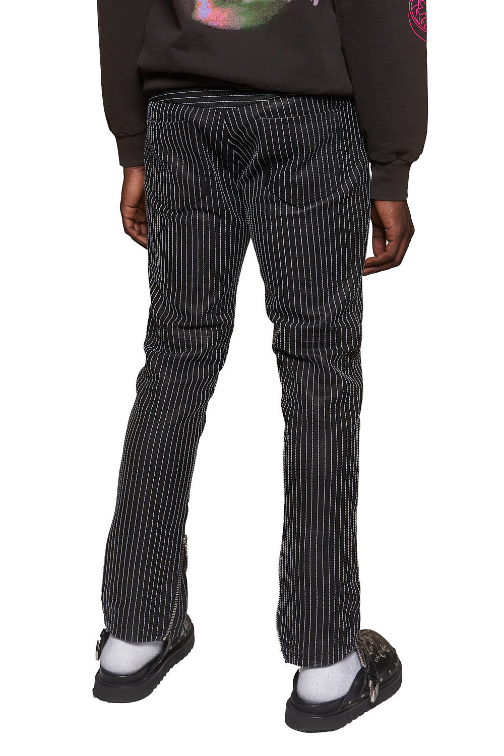 PINSTRIPE LEATHER PANTS