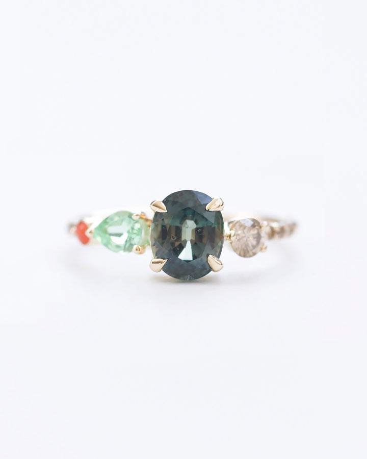 Bluegreen sapphire tourmaline champagne daimonds and coral stone cluster ring front view
