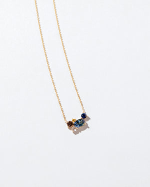 Bicolor Sapphire Cluster Necklace front facing