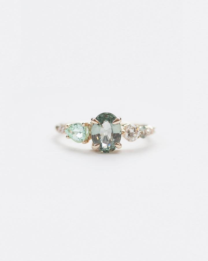 Green Sapphire, Tourmaline and White Diamond Stone Cluster Ring