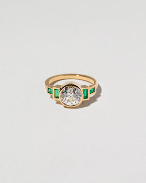 Diamond & Emerald Line Cluster Reset Ring (?)