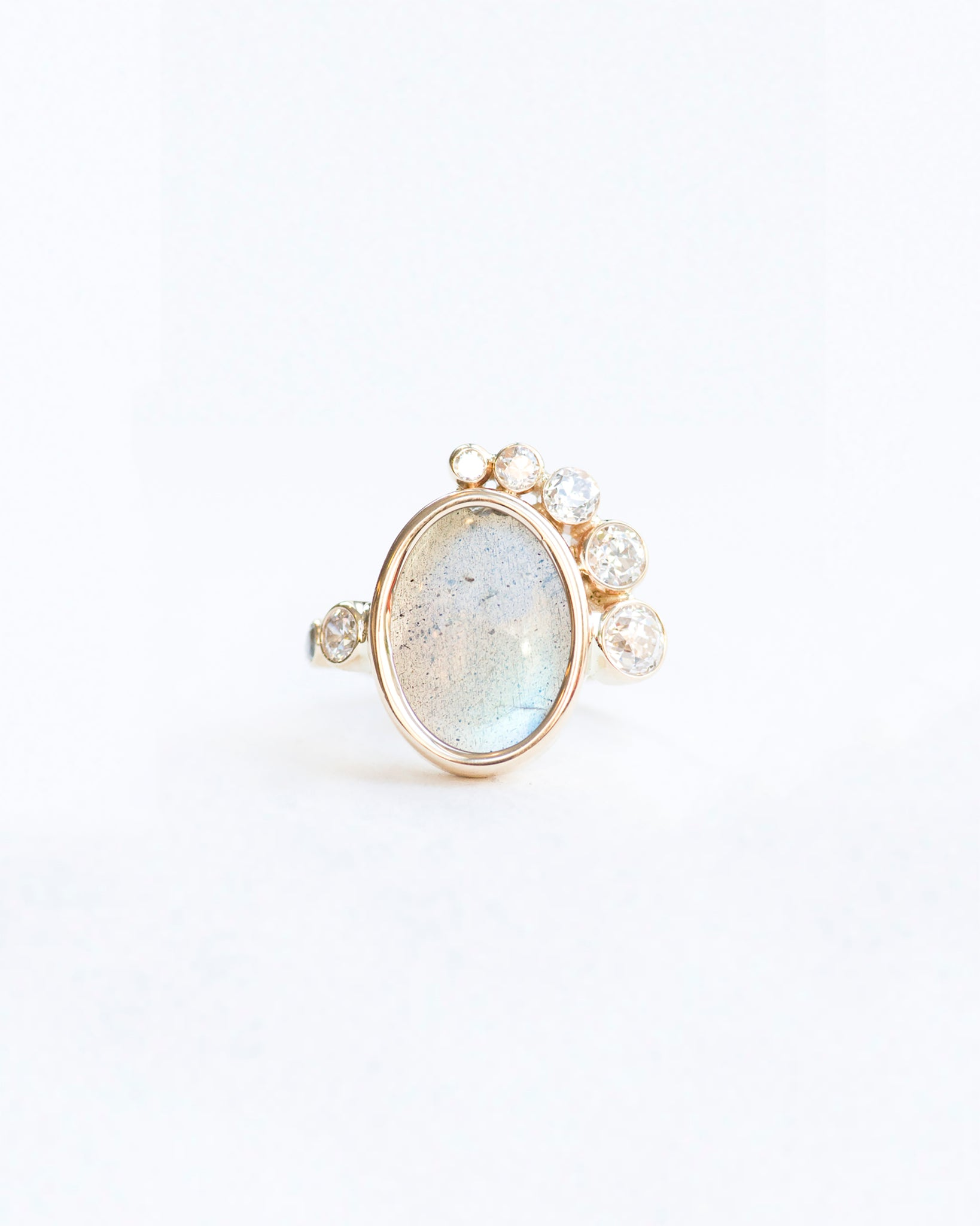 Labradorite and diamond stone cluster ring front view