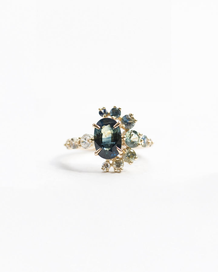 Bicolor Sapphire and Champange Diamond Cluster Ring front view