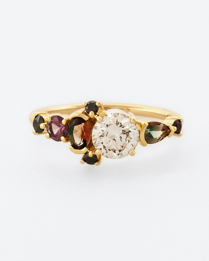 Champagne Diamond & Sunstone Line Cluster Ring front view