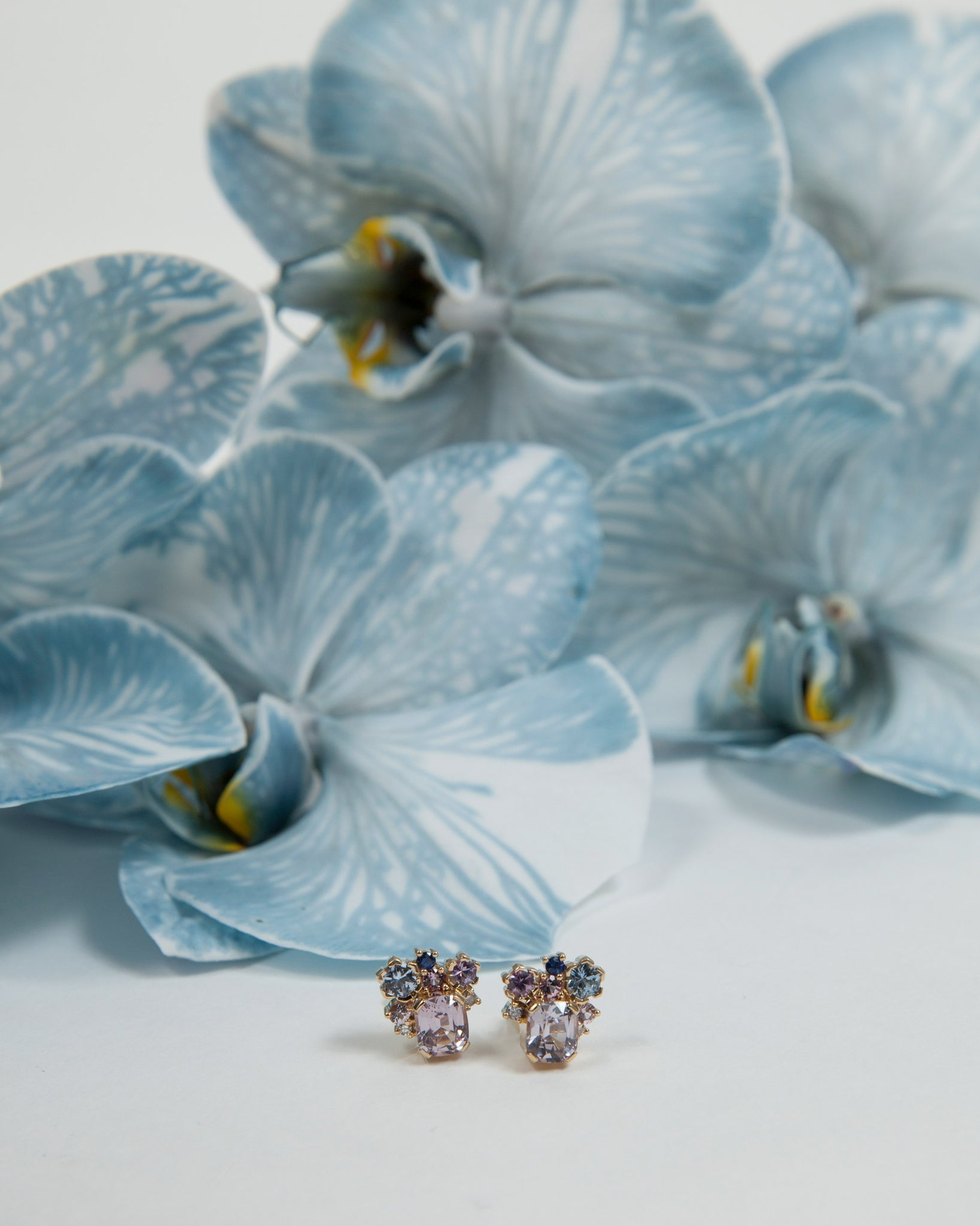 Cushion Cut Burmese Spinel Studs styled