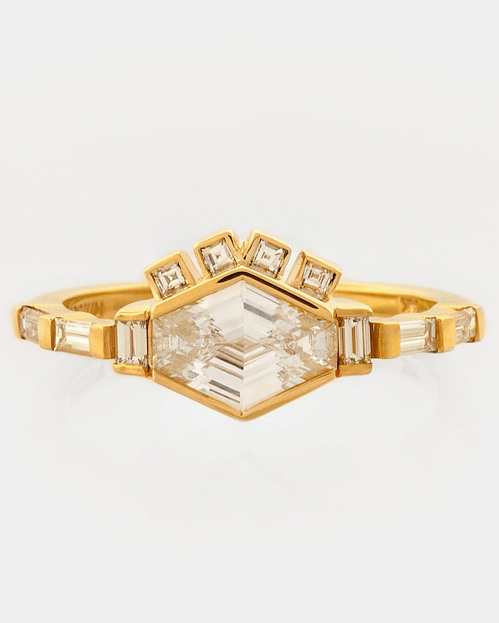 Elongated Hexagon Diamond Ray Ring front view