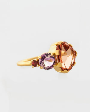 Garnet Birthstone Cluster Ring side view