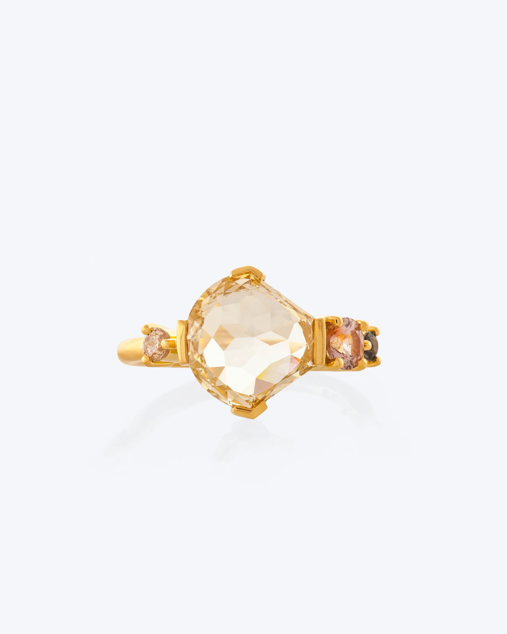Light Brown Modified Shield Diamond Cluster Ring front view
