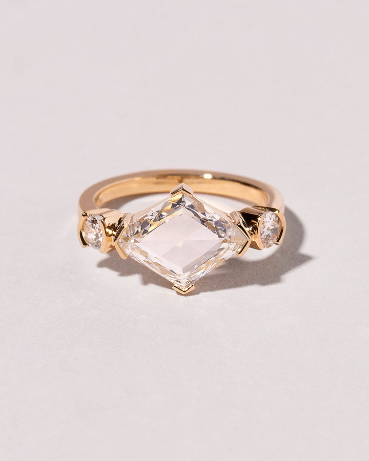 Lozenge Cut Diamond Line Cluster Ring front view