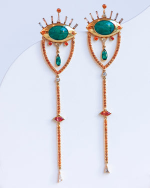 Malachite Eye Drop Earrings front view