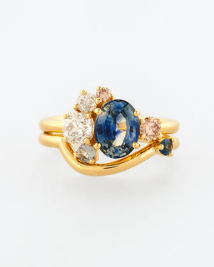 Oval Bicolor Sapphire Cluster Ring with Band front view