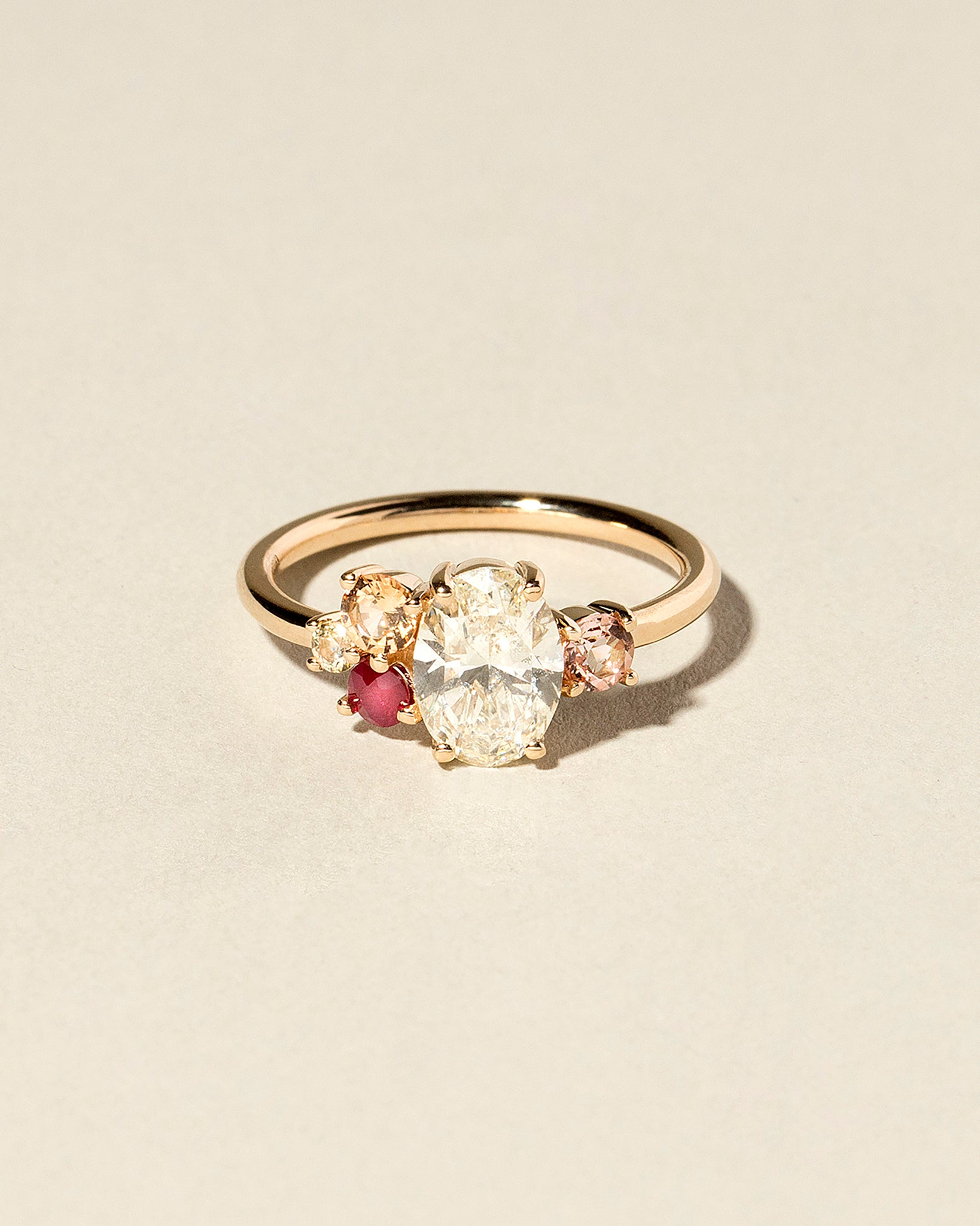 Oval Cut Diamond Cluster Ring front view