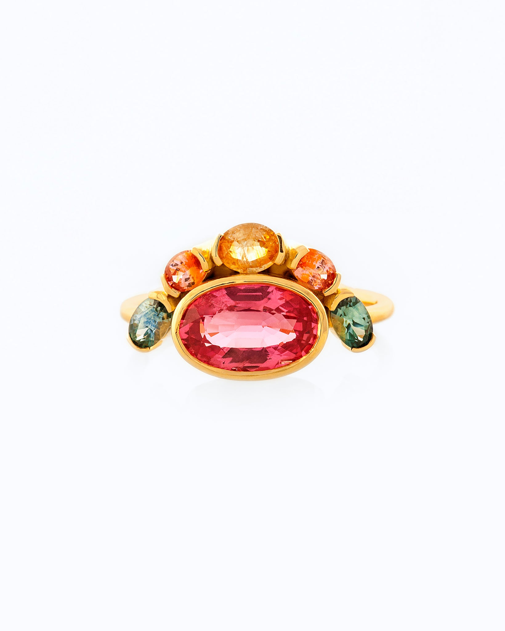 Oval Padparadscha Sapphire Cluster Ring front view