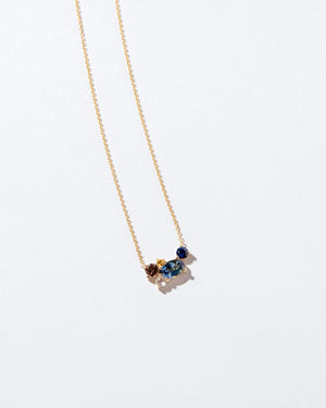 Bicolor Sapphire Cluster Necklace