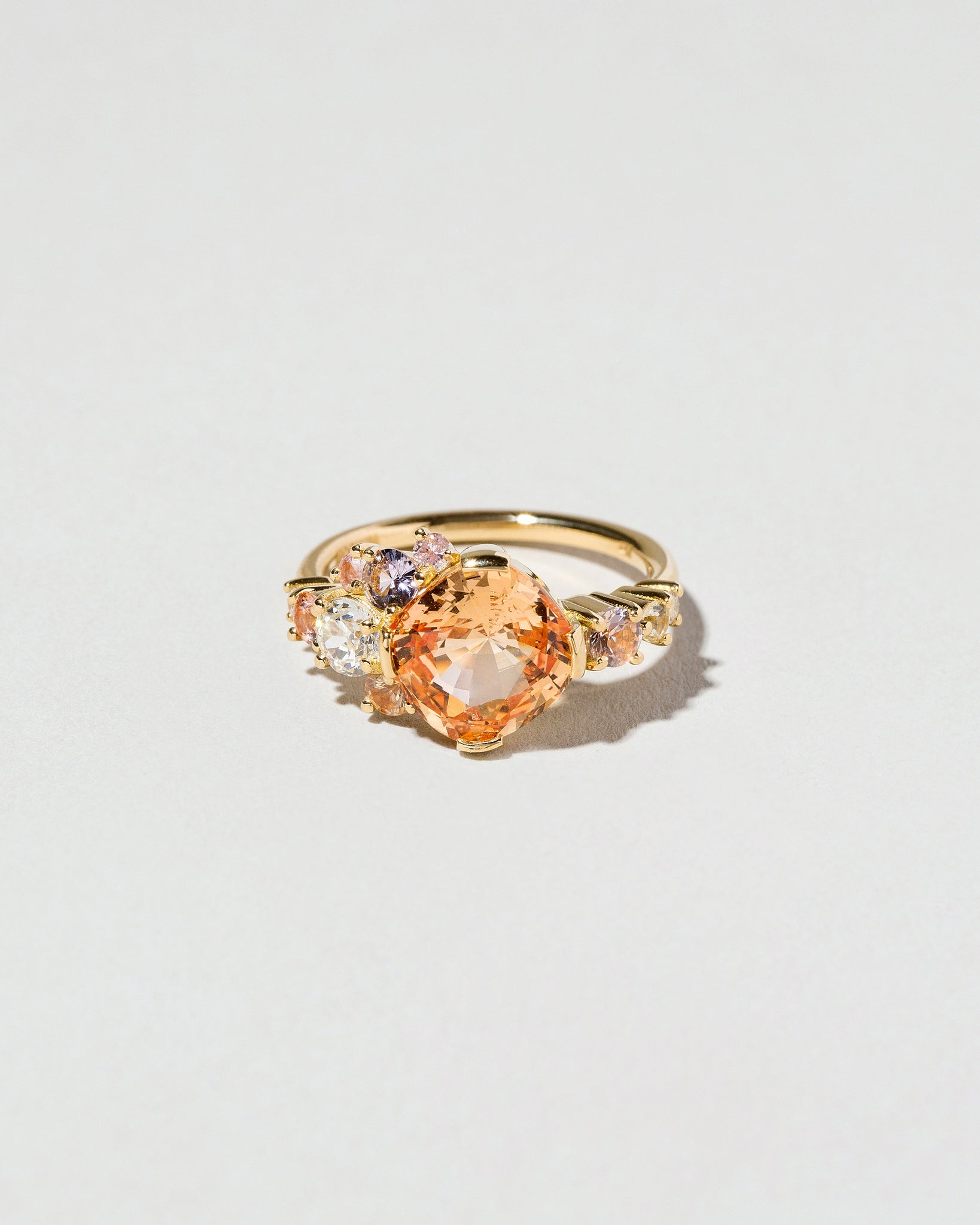 Golden Sapphire Cluster Ring