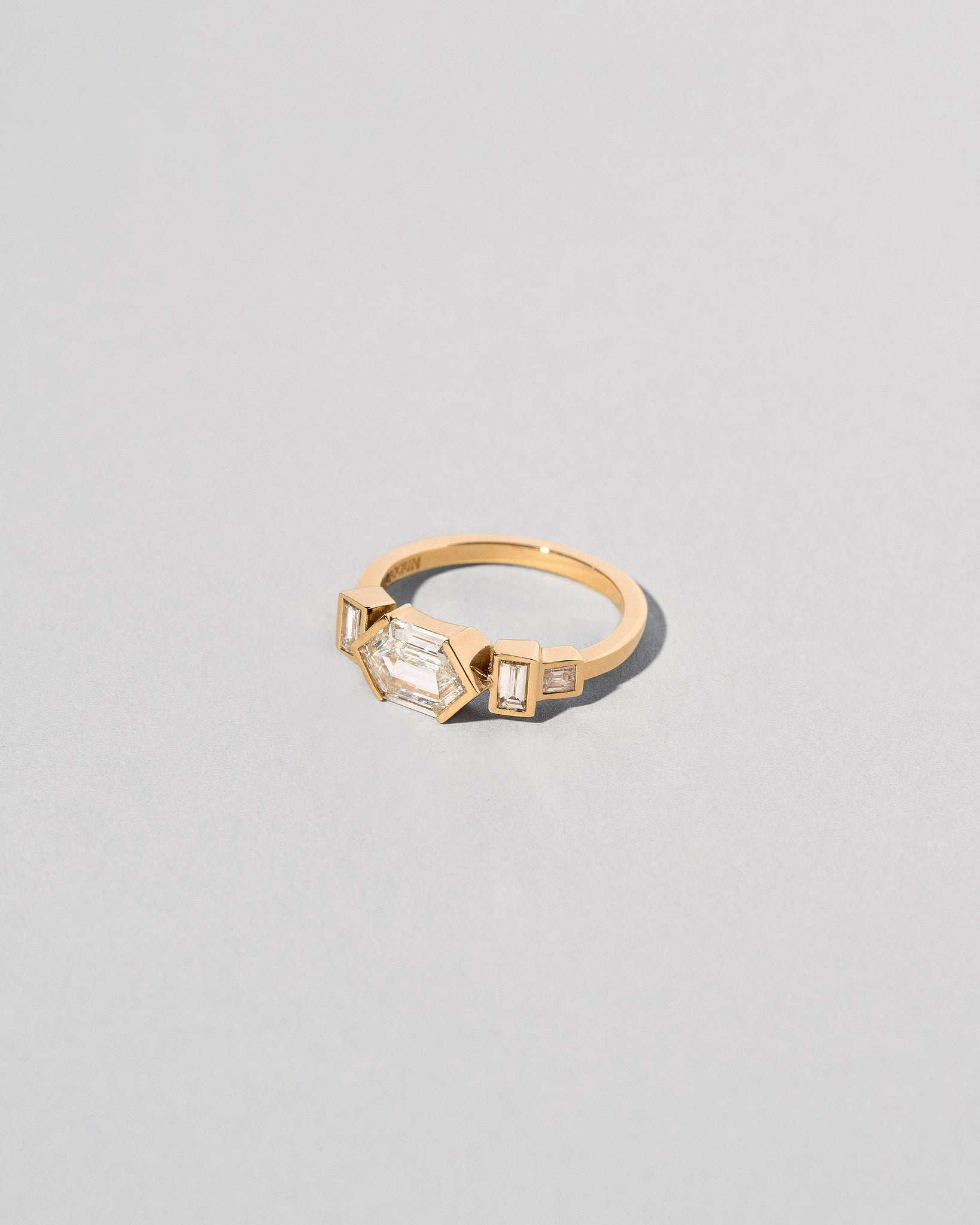 Custom Hexagonal Step Cut Line Cluster Ring