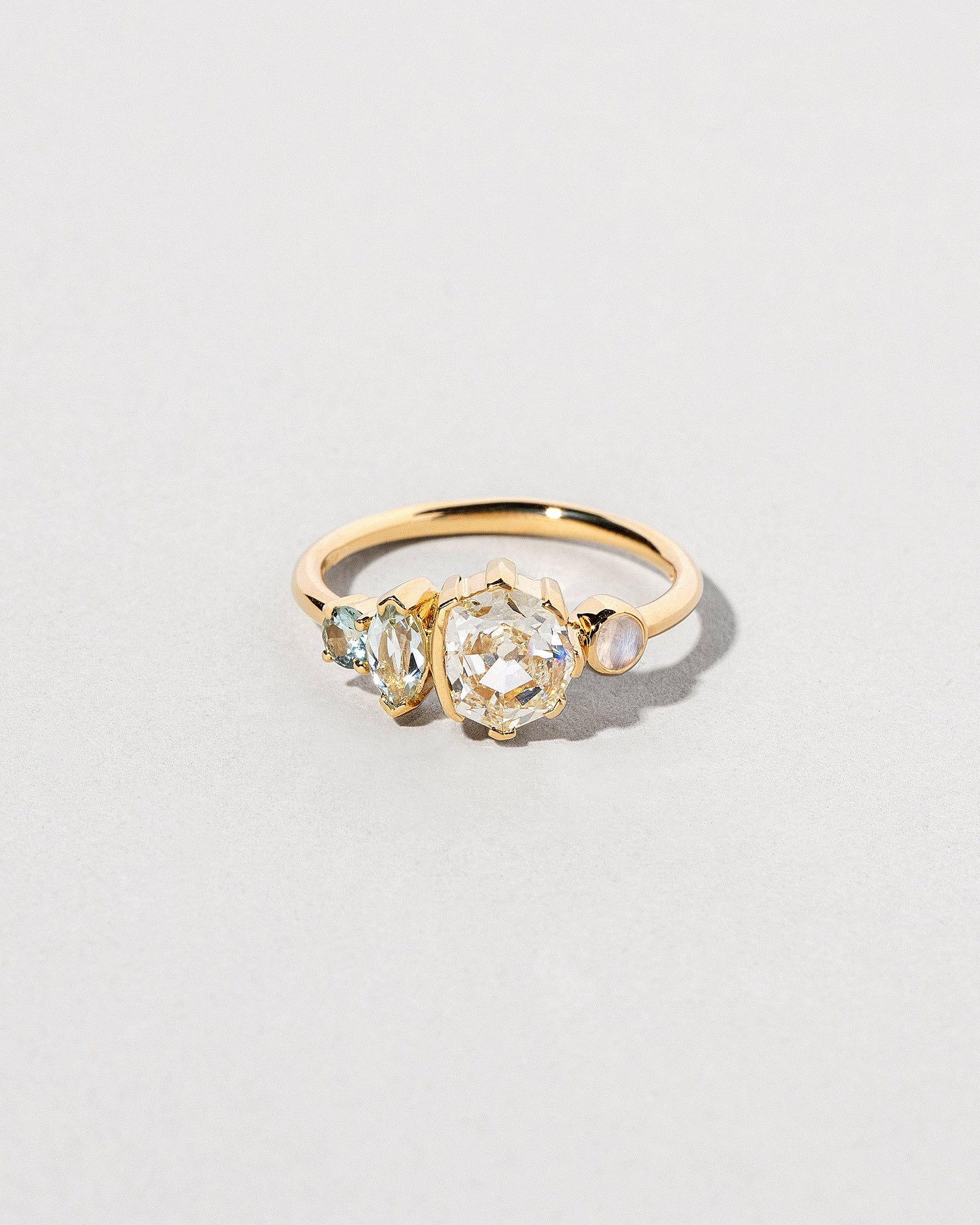 Custom Octagonal Old Mine Cut Diamond Line Cluster Ring