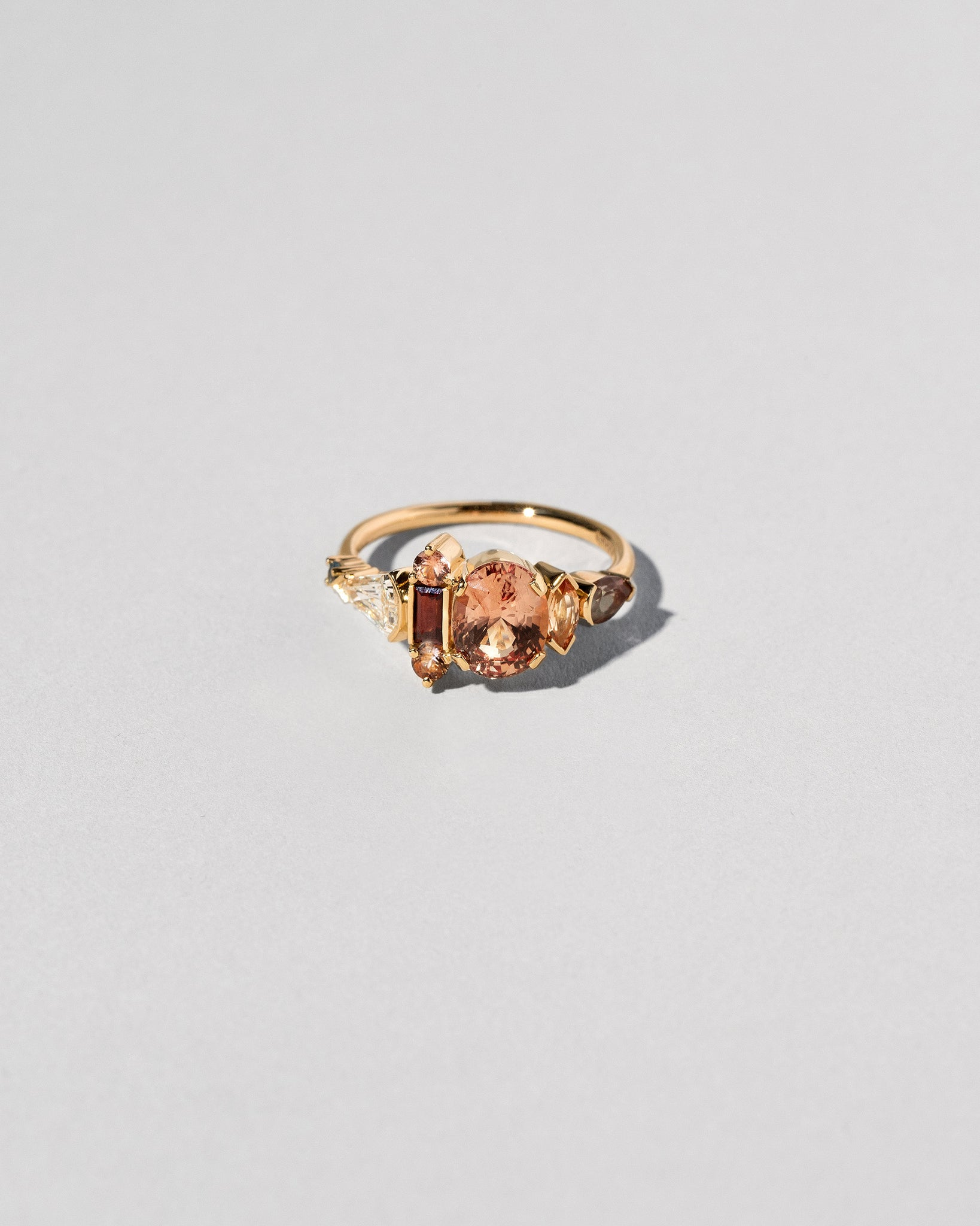 Custom Padparadscha Sapphire Cluster Ring front view