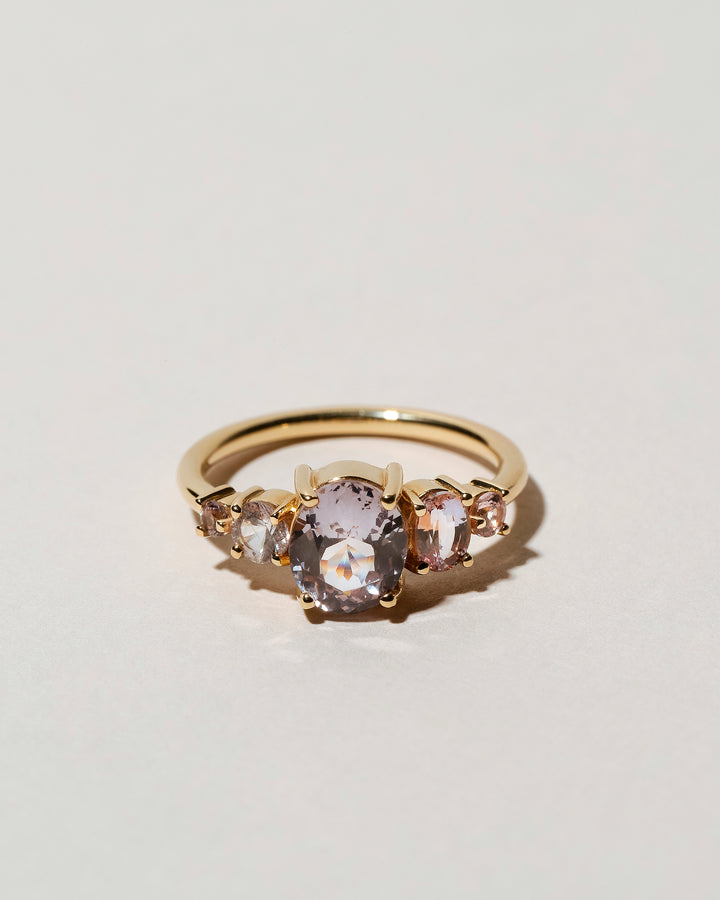 Lavender Spinel & Sapphire Line Cluster RIng front view