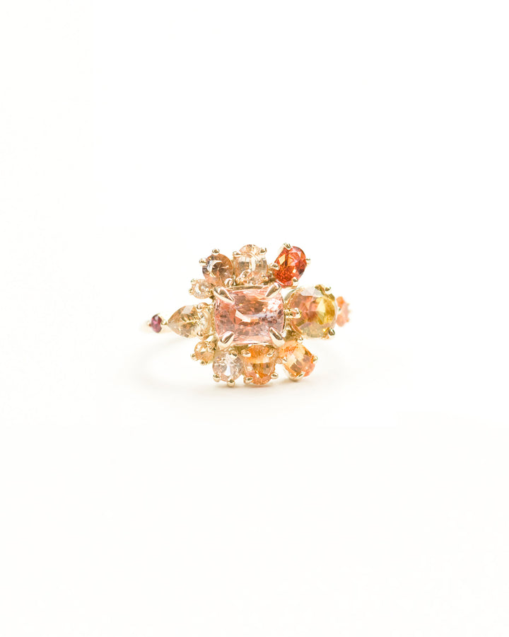 Peach sapphire stone cluster ring front view