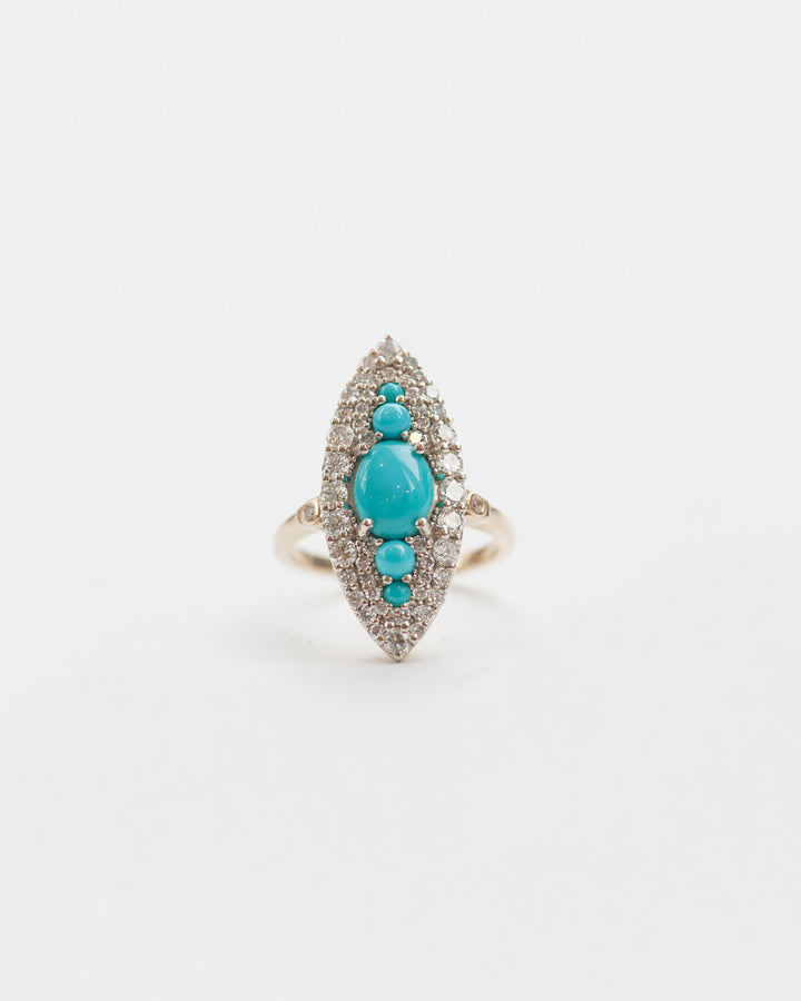 Turquoise and white diamond Marquee Ring front view