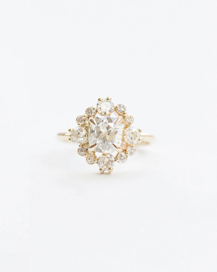 White diamond mini snowflake stone cluster ring front view