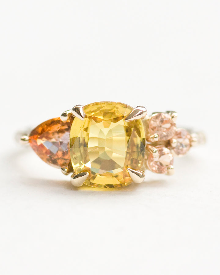 Yellow Orange and Peach Sapphire Stone Cluster Ring front view